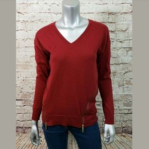 Michael Kors Red V-Neck Sweater Sz S Side Zippers